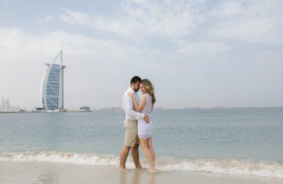 Dubai Honeymoon Package, Jumaira Beach, Love story, couple photoshoot on the beach near Burj Arab, Dubai